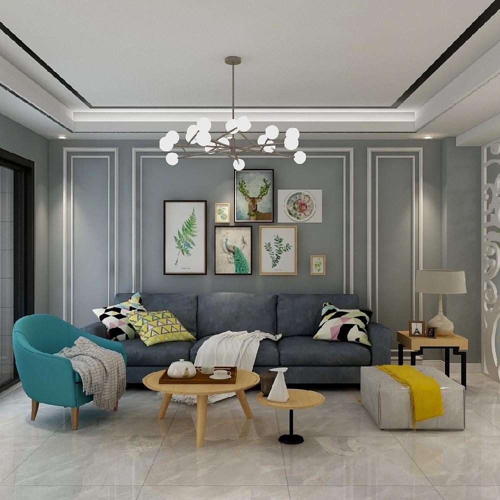 120㎡三居室設計溫馨房屋14845752