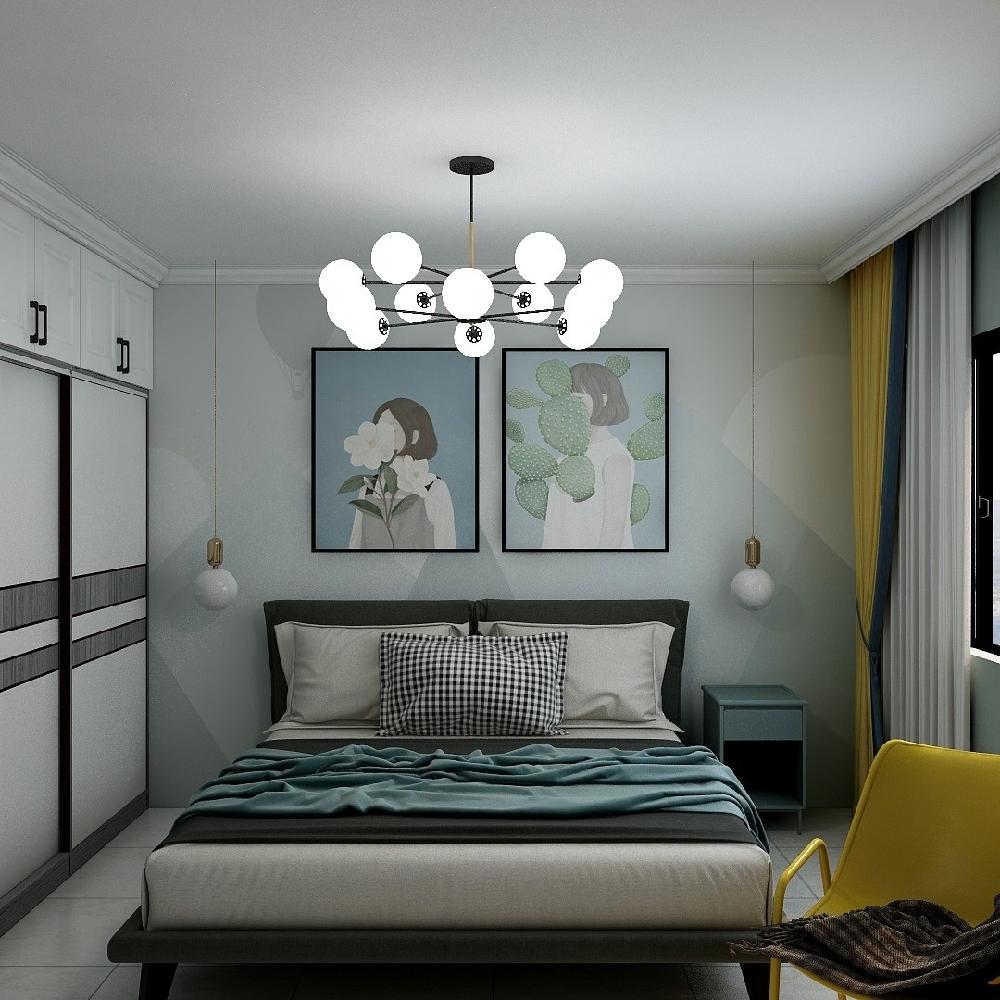 120㎡三居室設計溫馨房屋14845763