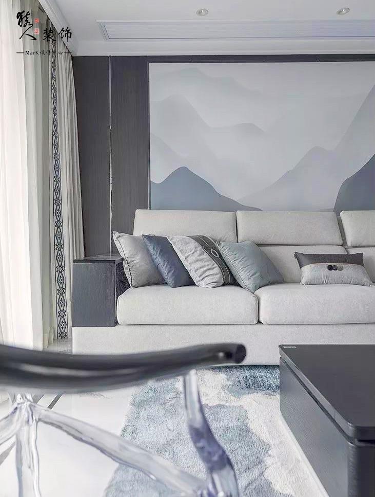 160㎡新中式4室,电视背景墙装隐形门14903487