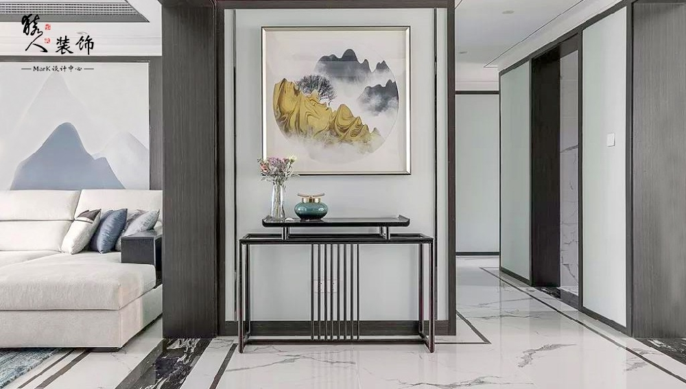 160㎡新中式4室,电视背景墙装隐形门14903485