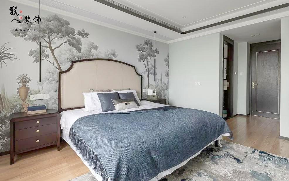 160㎡新中式4室,电视背景墙装隐形门14903503