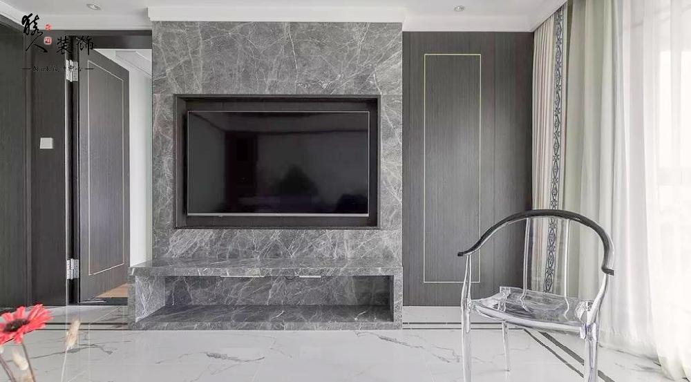 160㎡新中式4室,电视背景墙装隐形门14903489