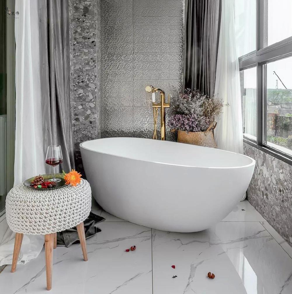 89㎡现代轻奢,浴缸竟然摆阳台!15551859