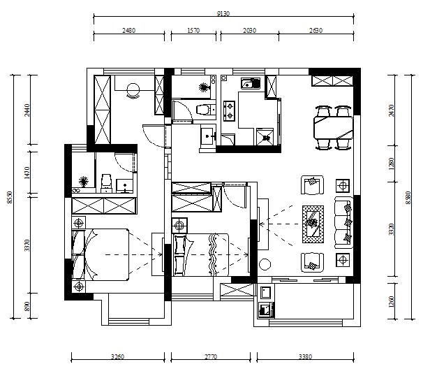 96㎡極簡日式3室2廳,餐廳清新又實用1532406