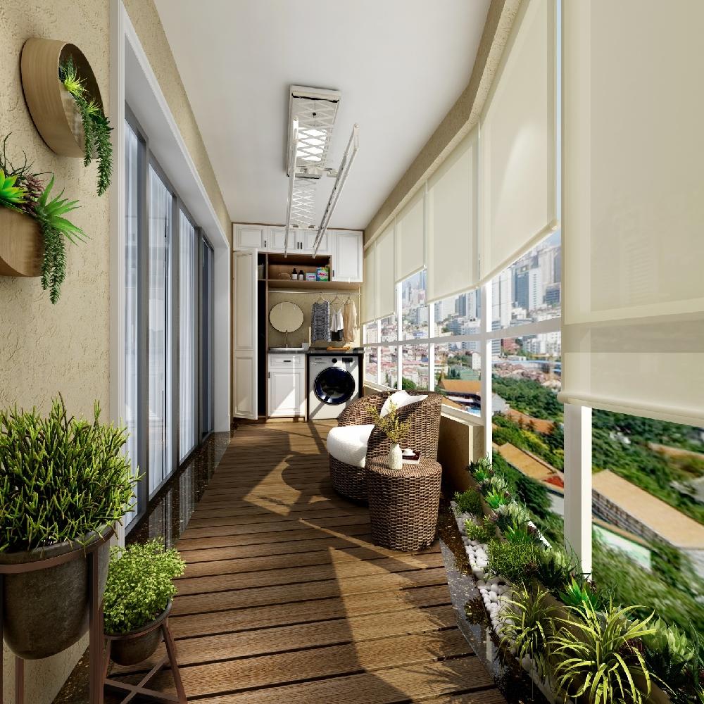 现代轻奢范儿,阳台改成小花园!15895929