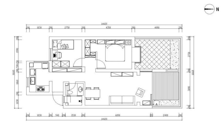 小戶型室內50平,20平院子讓人羨慕1575741
