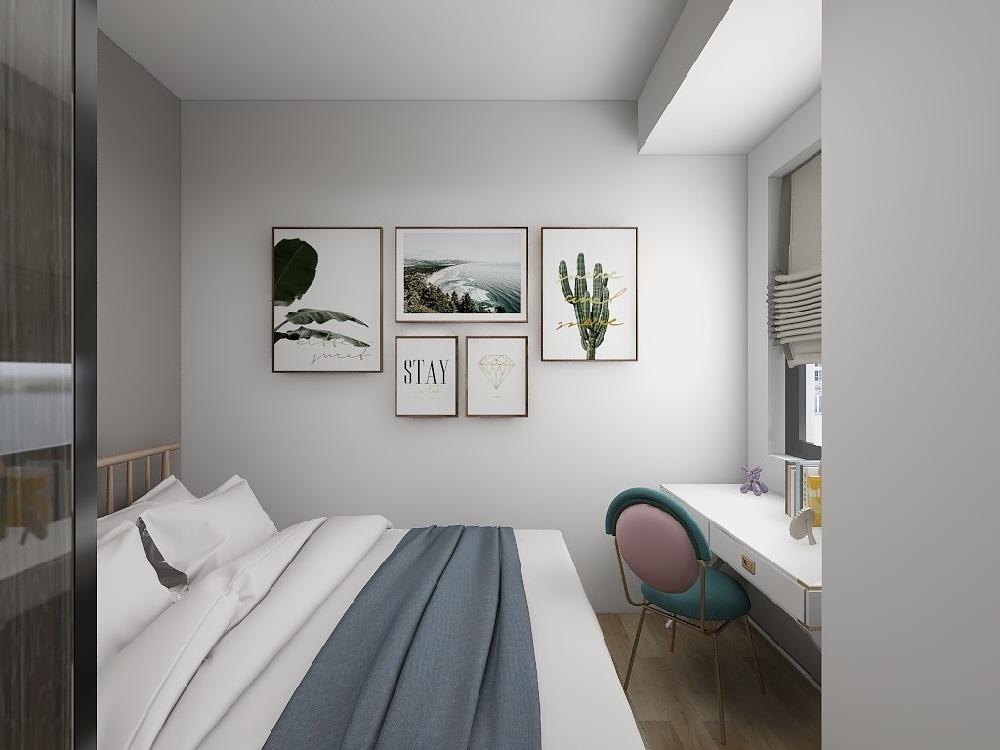 自然绿色系现代风格小三室16810041
