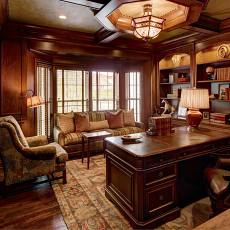美式风格别墅豪华书房吊顶吊灯书柜装修效果图