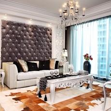 新古典客厅沙发软包背景墙效果图