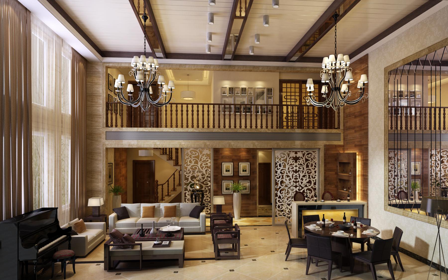 面积120平复式客厅混搭装修实景图片欣赏