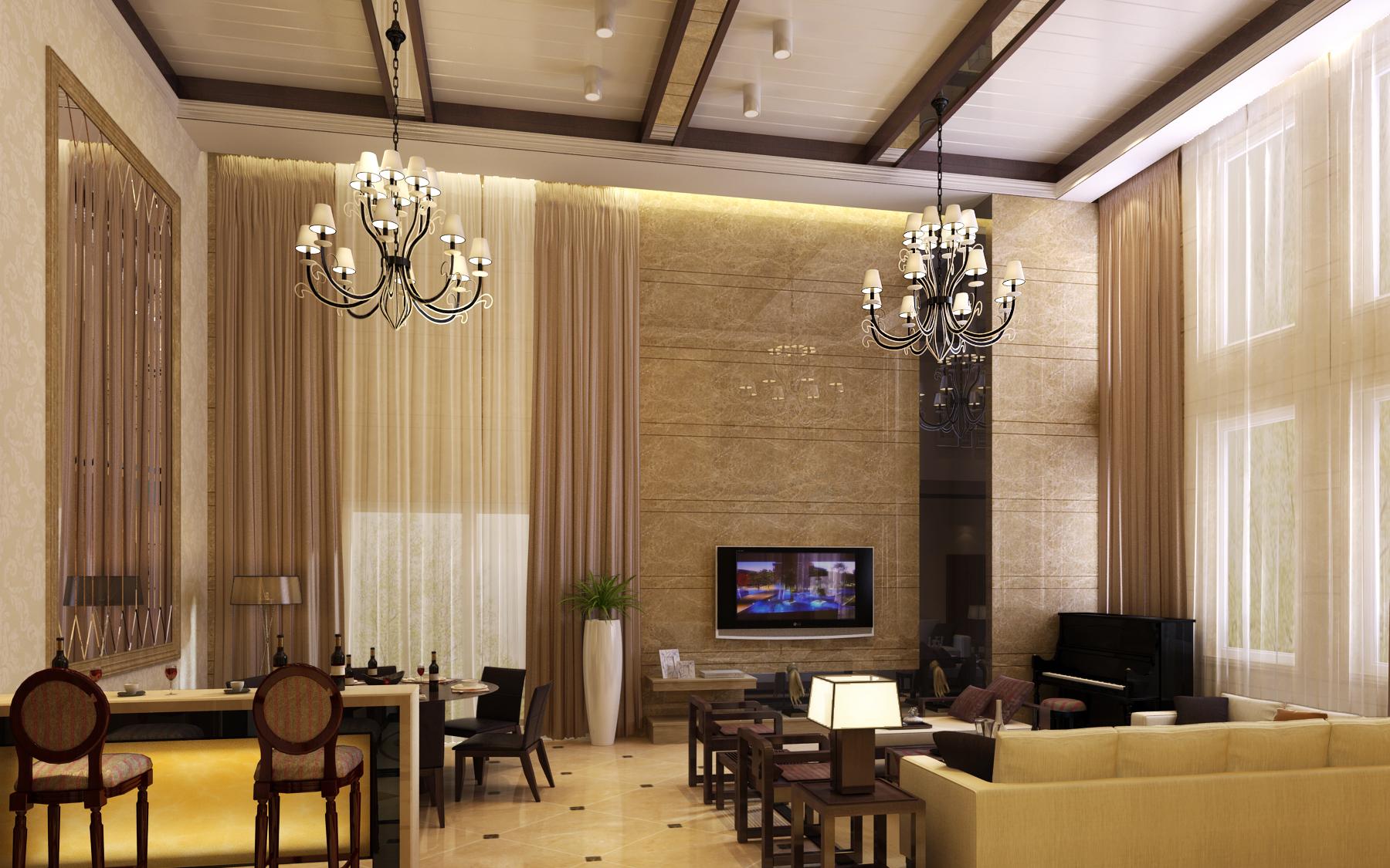 面积121平复式客厅装修设计效果图片大全