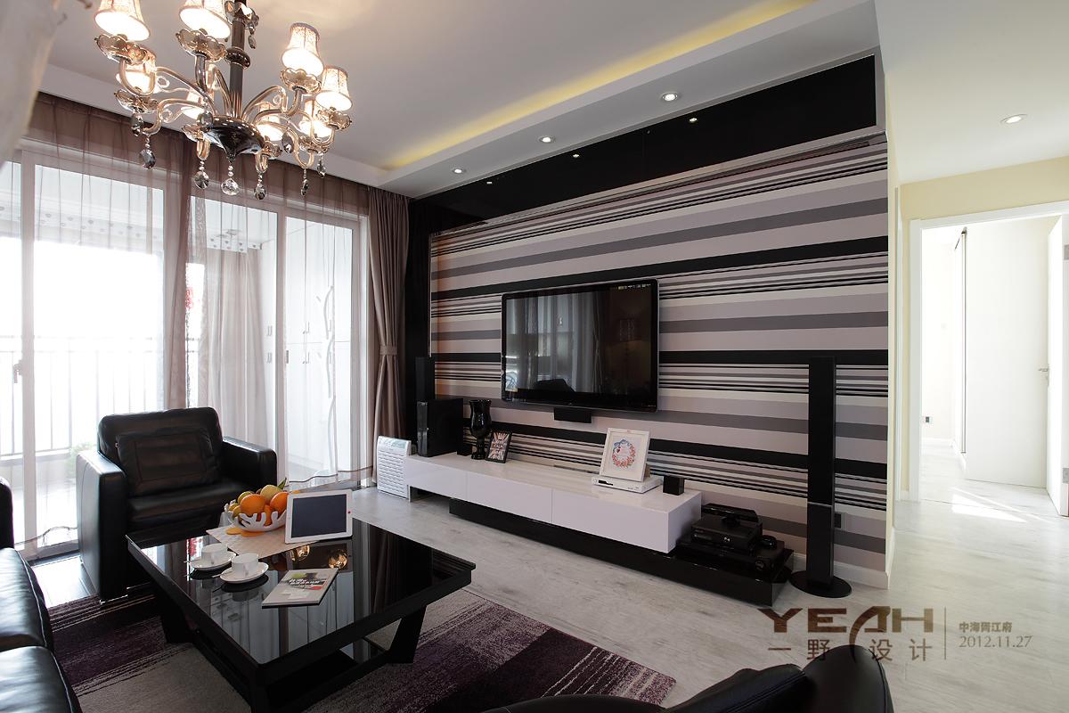 胥江府现代客厅吊顶灯带简易电视柜壁纸背景墙
