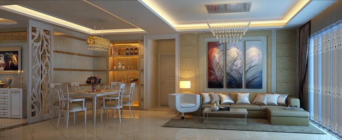 浪漫碎花简欧风格客厅设计装潢