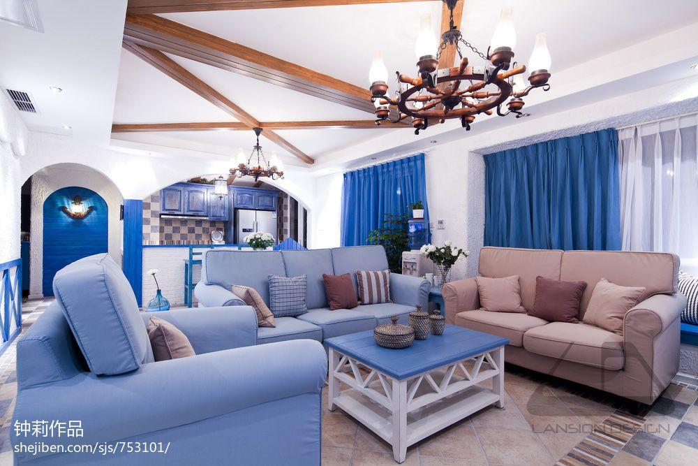 地中海风格客厅实木假吊顶设计效果图