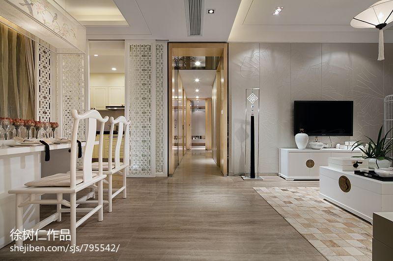 中式風格白色調客廳過道吊頂地板磚