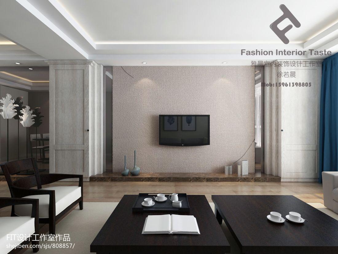 2018精选92.8平米3室客厅混搭装修实景图片大全