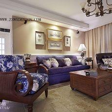 精选面积74平美式二居客厅实景图片欣赏