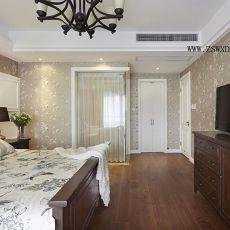 热门面积85平美式二居卧室效果图片