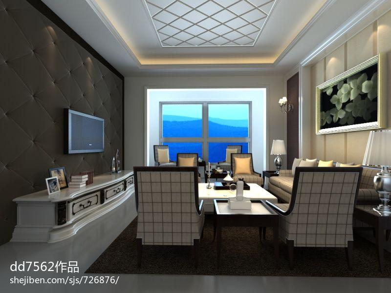 最新70平米美式小户型休闲区装修实景图
