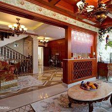 美式放个瓷砖拼花隔断门楼梯客厅设计