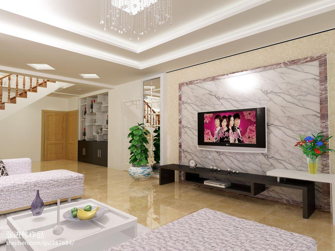 复式客厅大理石电视背景墙效果图