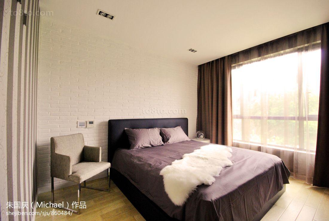 现代简约风格卧室落地窗窗帘效果图欣赏
