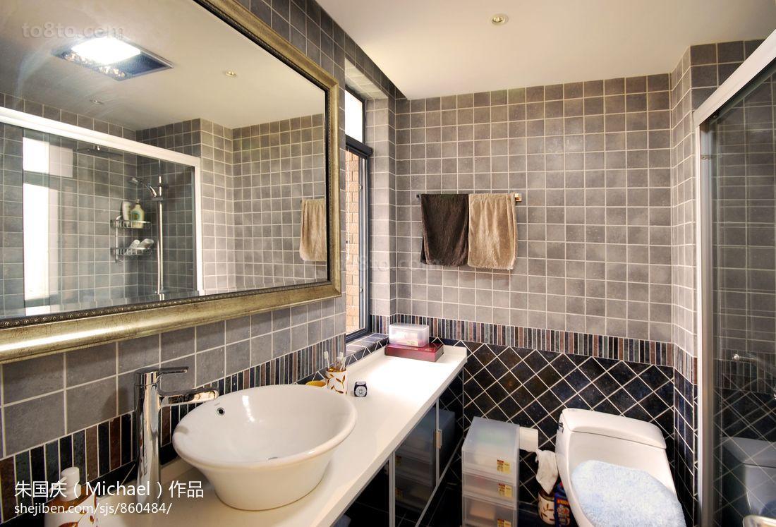现代简约卫生间瓷砖效果图