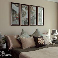 中式卧室床头照片墙效果图