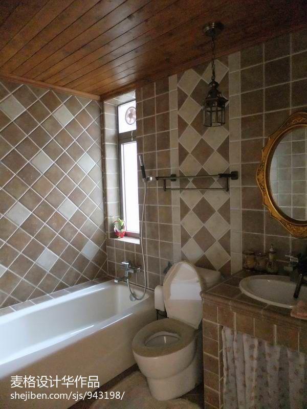 面积97平混搭三居卫生间装修实景图片