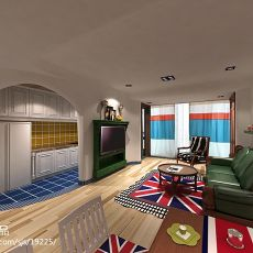 热门78平米二居客厅东南亚装修设计效果图