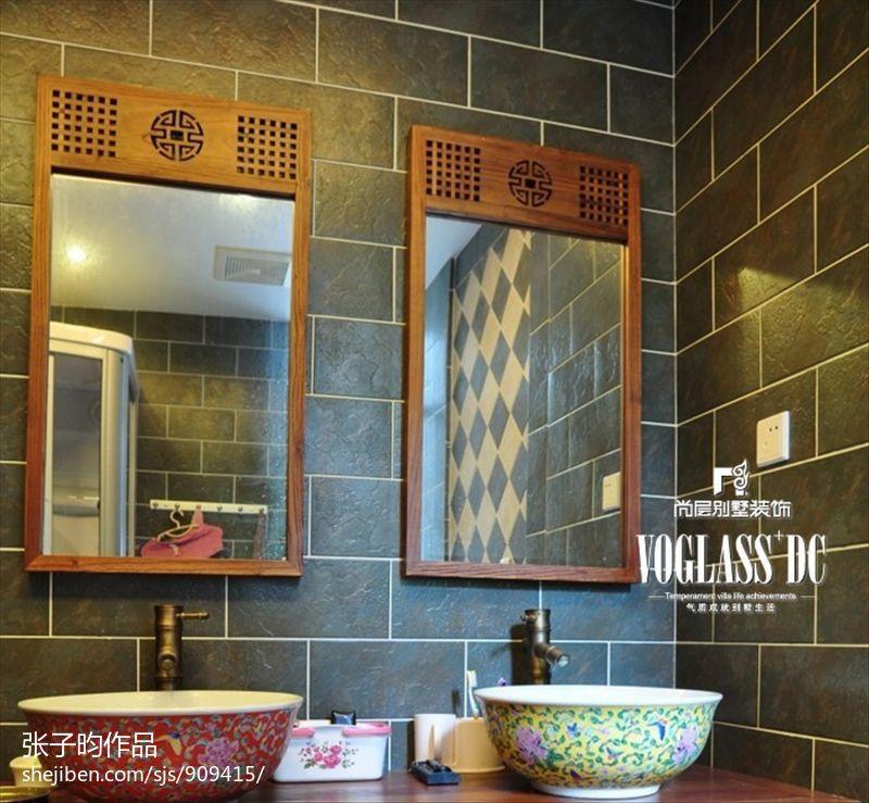 卫生间镜子洗手盆组合图片