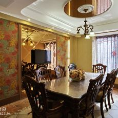 面积137平别墅餐厅混搭装修实景图片大全