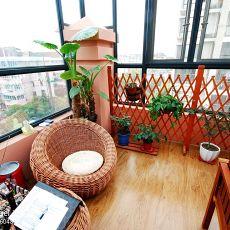 134平米东南亚复式阳台装修图片欣赏