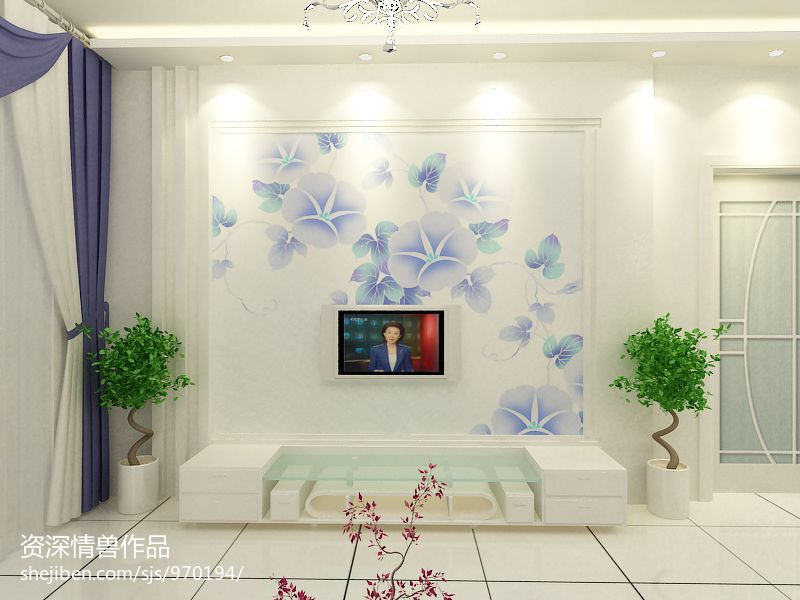 现代化舒适电视背景墙装修效果图
