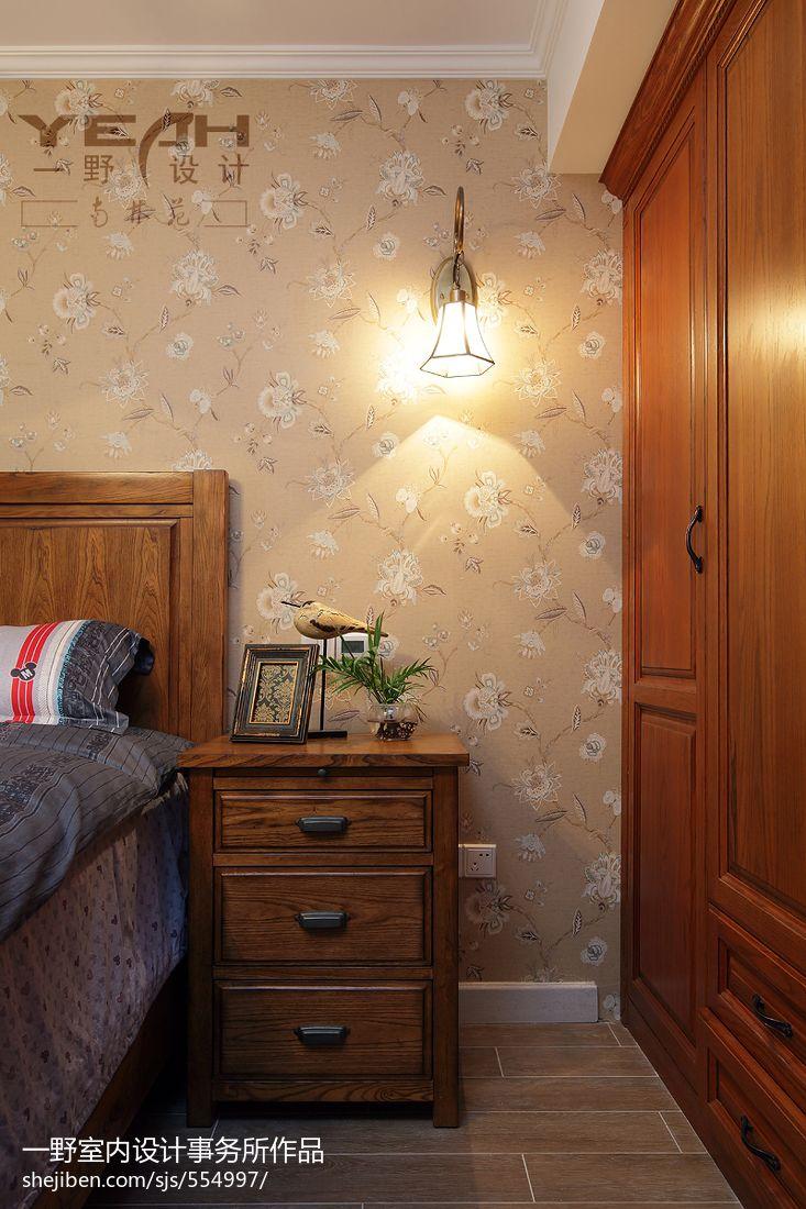美式清新风格卧室衣柜装修效果图