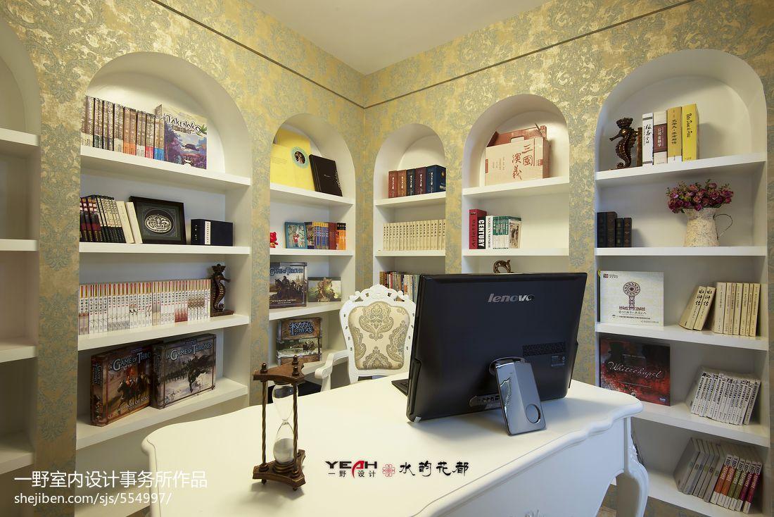 混搭风格书房书柜装修效果图