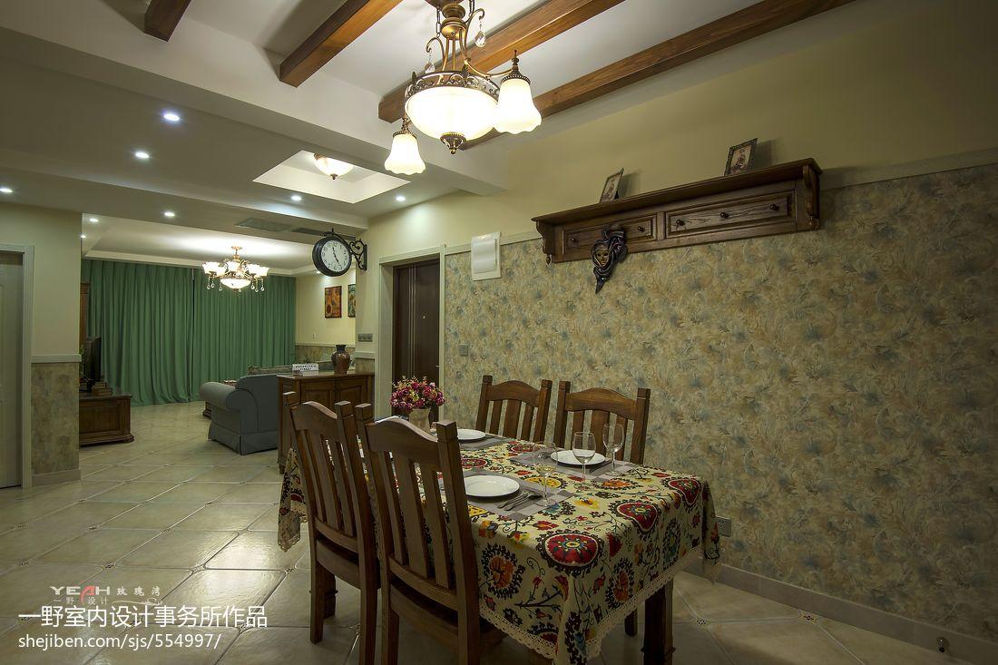 玫瑰湾休闲美式餐厅吊顶吊灯背景墙装修效果图