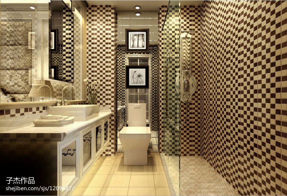 欧式新古典3平米卫生间洗手盆装修设计效果图