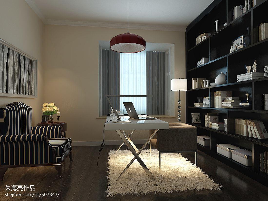 热门108平米三居书房混搭效果图片大全