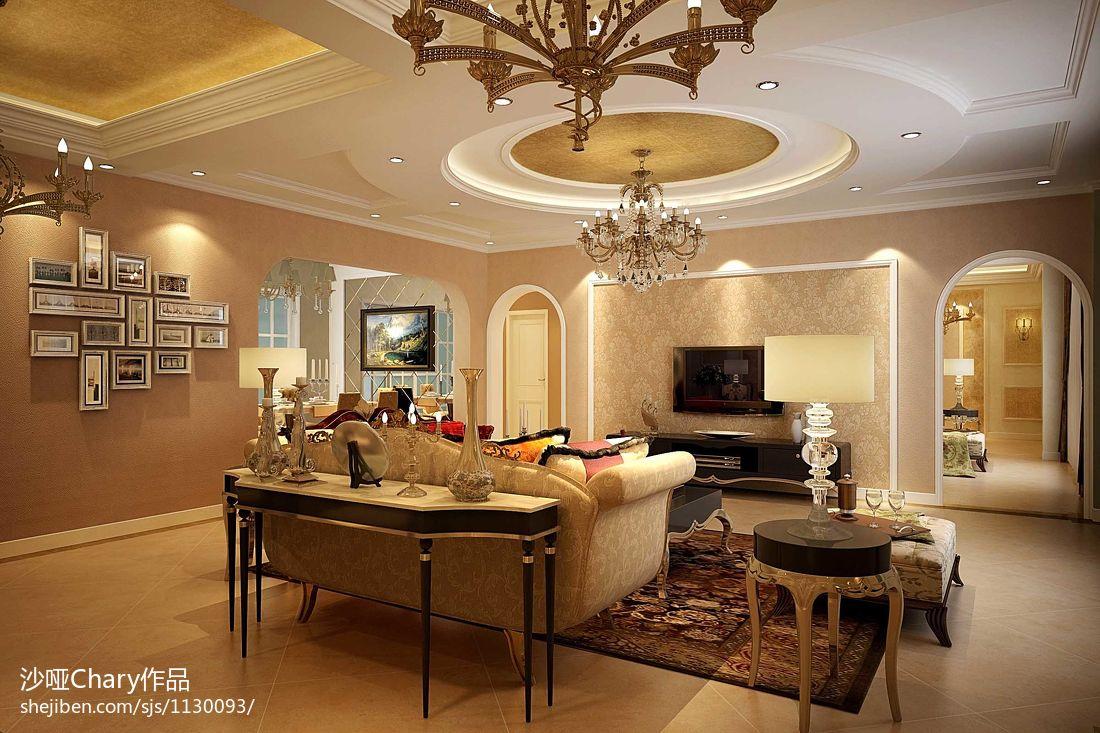 美式风格客厅吊顶效果展示图