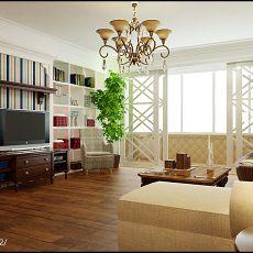 面积129平复式客厅田园装修设计效果图片欣赏