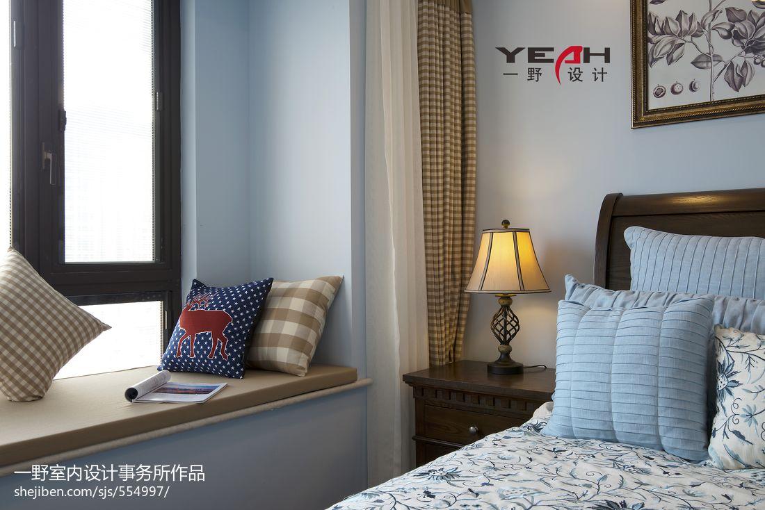 简约美式卧室飘窗装修图片