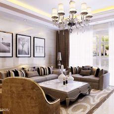 热门105平米三居客厅欧式装修设计效果图片大全