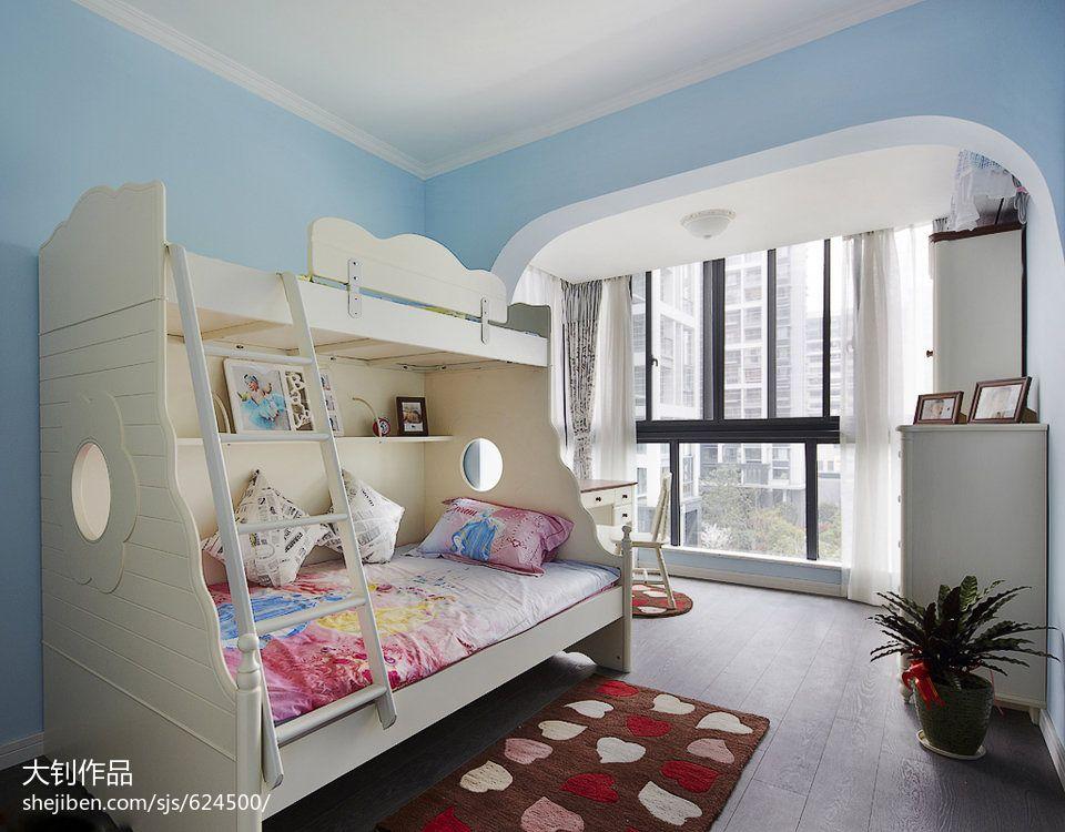 混搭双人儿童房窗帘装修设计效果图