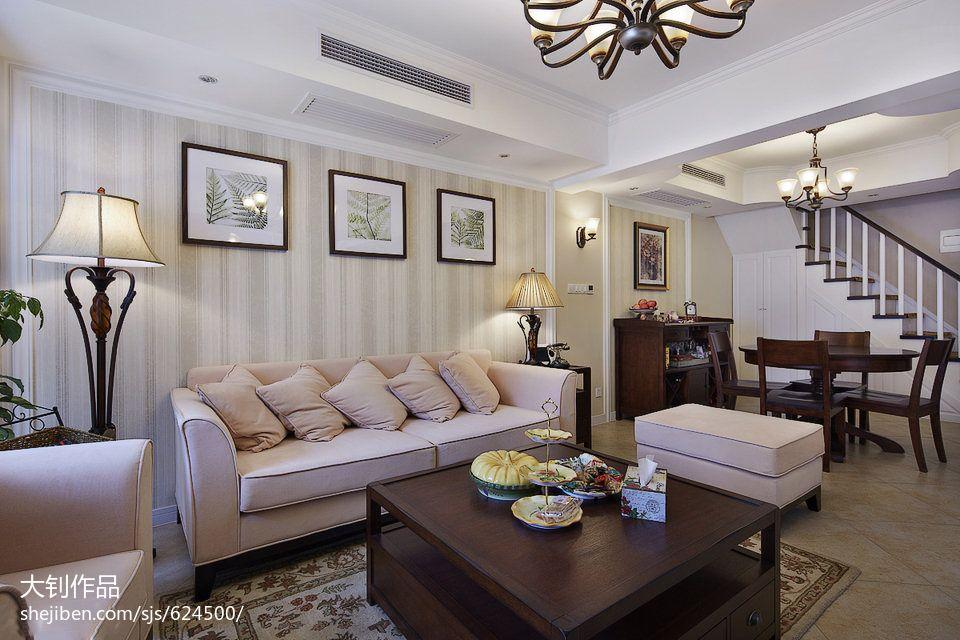 精选混搭3室客厅装修设计效果图104平