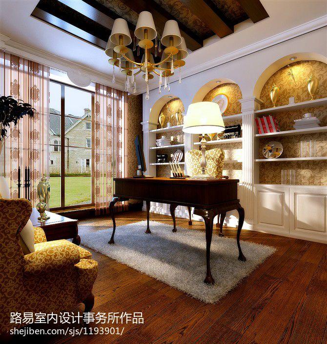 精选115平米欧式别墅书房装修设计效果图片欣赏