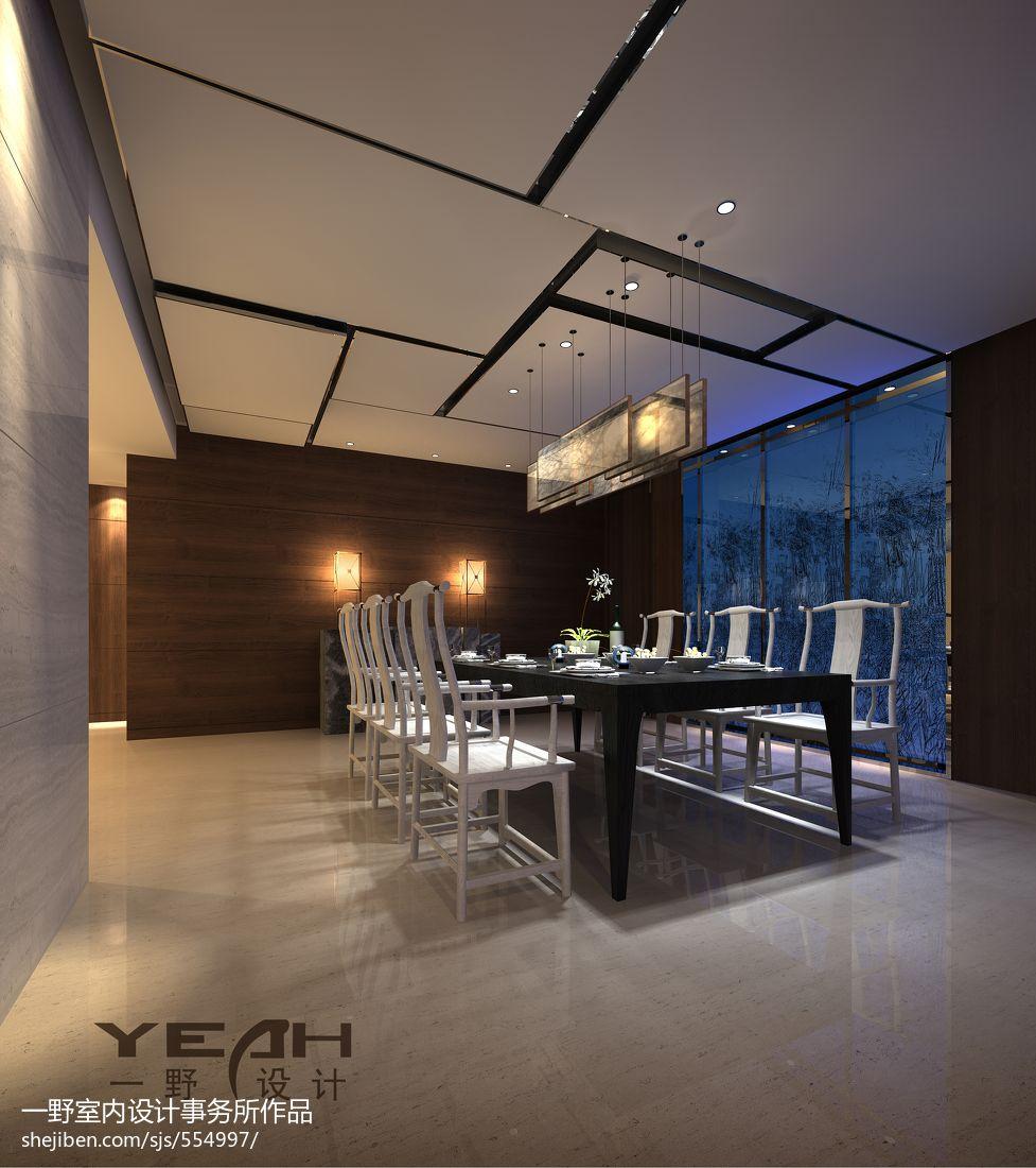 中式風格別墅餐廳吊頂裝修圖