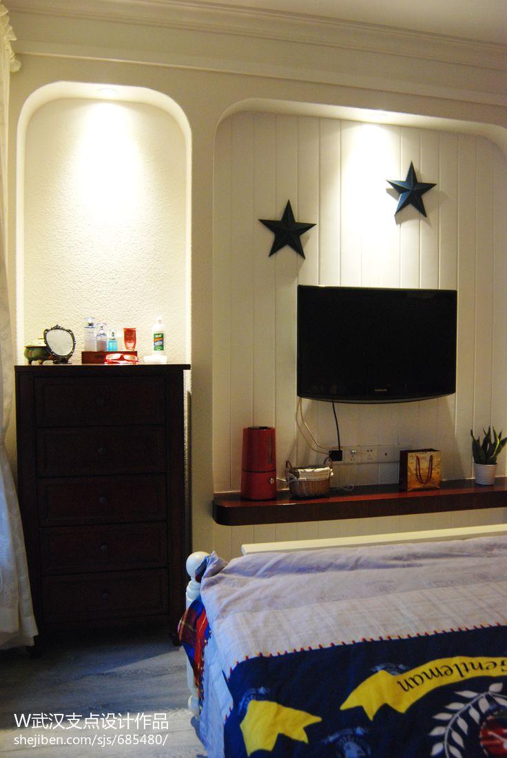 爱的礼物_混搭卧室电视背景墙装修设计效果图