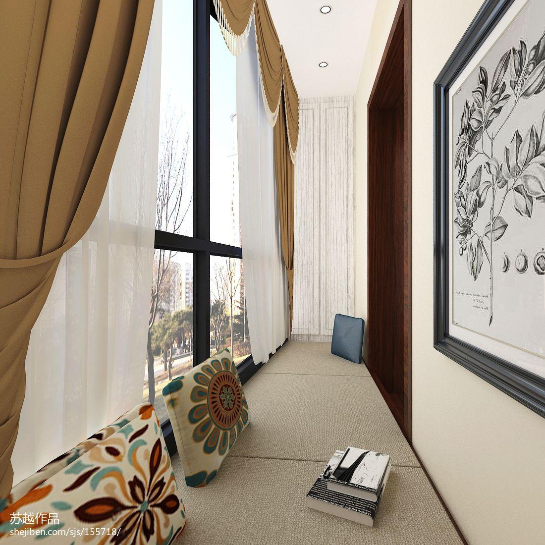 美式风格阳台改卧室书房装修效果图
