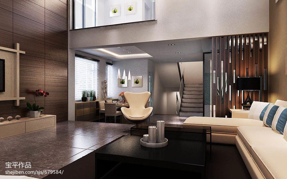 热门126平方现代别墅客厅欣赏图片
